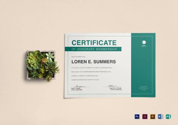 printable honorary membership certificate template
