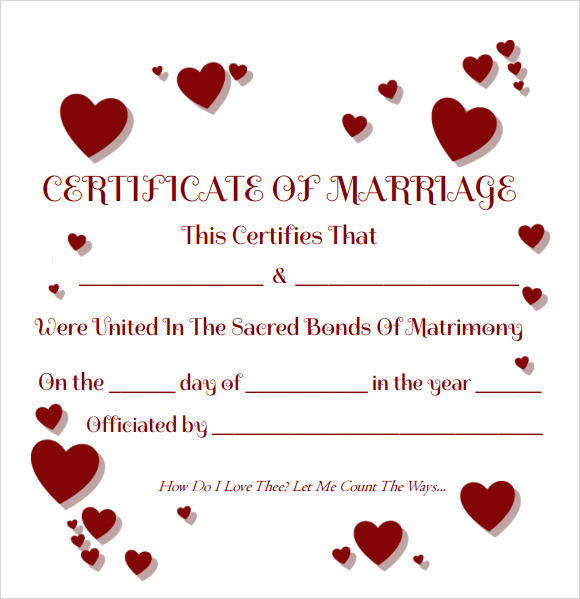 18+ Sample Marriage Certificate Templates to Download | Sample Templates