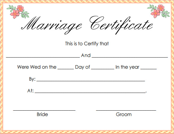 Wedding Certificate Template. Sample Marriage Certificate From