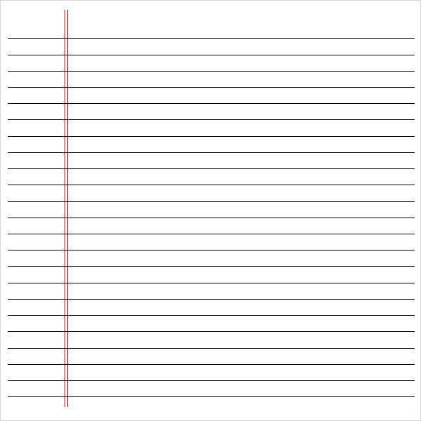 printable notebook paper template