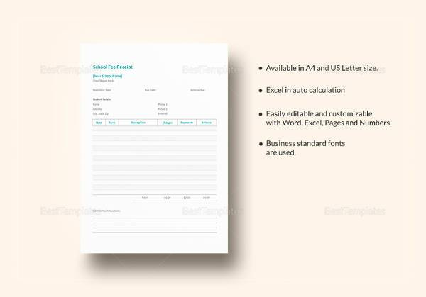 printable school fee receipt template
