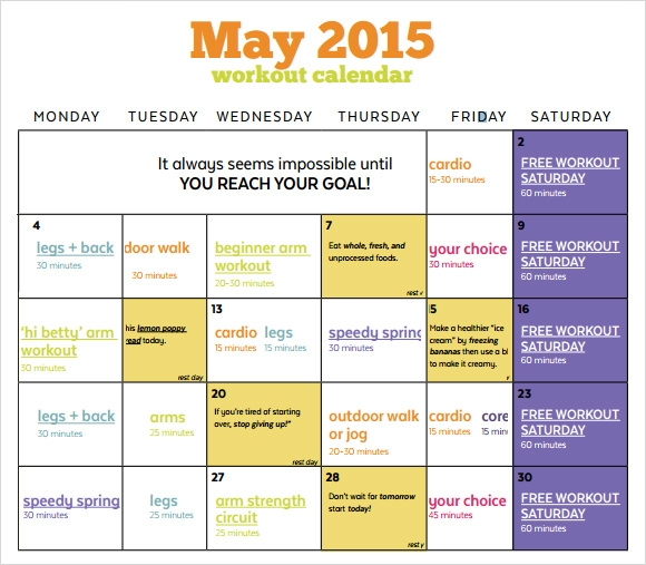 Workout Calendar Templates - 8 Premium and Free Download for PDF ...