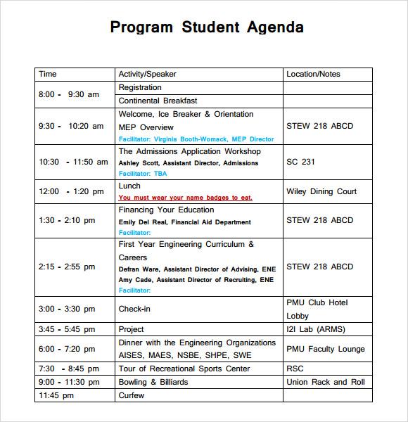 Sample student agenda