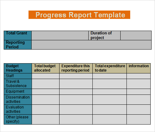 business progress report template