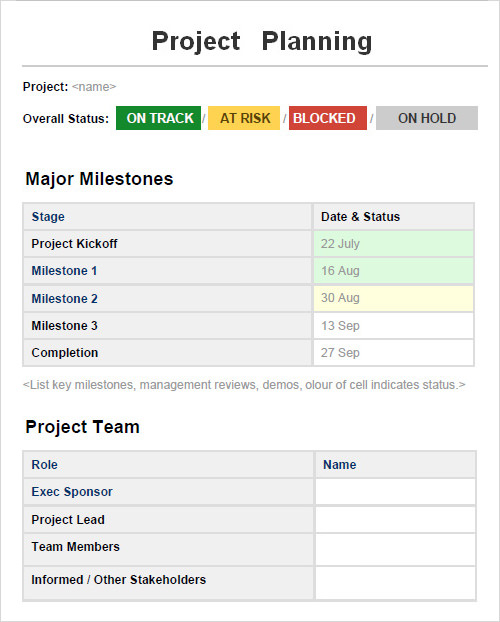Project Planning Template Software Project Plan Template Sample