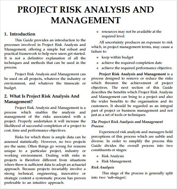 Risk Analysis Template   Download Free Documents In Pdf Word