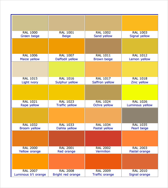 10 Sample RAL Color Chart Templates to Download | Sample Templates