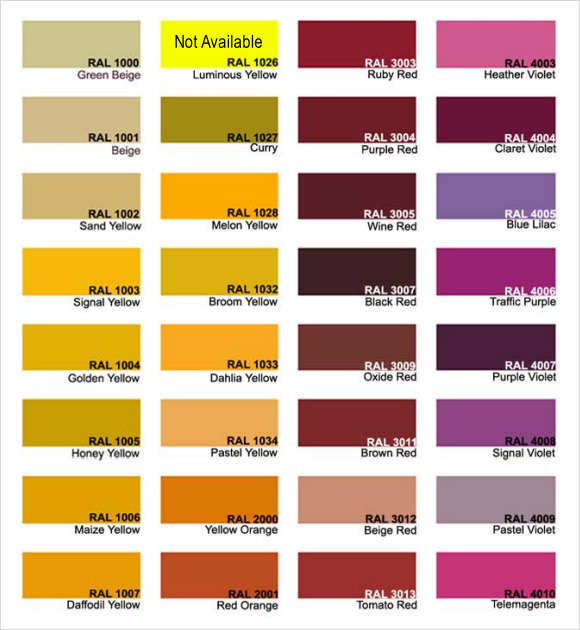 RAL Color Chart 9 Download Free Documents in PDF – Color Chart Template