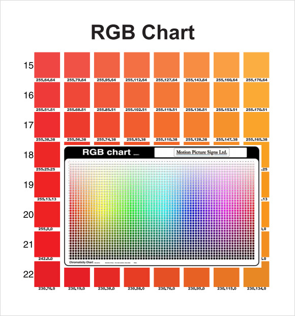 Rgb Color Chart   Free Download For Pdf