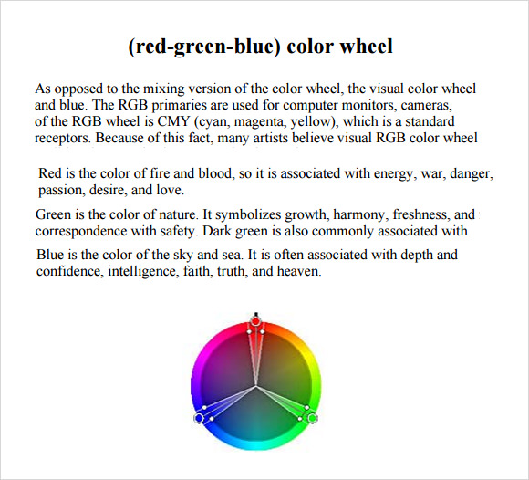 RGB Color Chart 6 Free Download for PDF – Sample Color Wheel Chart