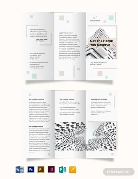 realestate mortgage company tri fold brochure template