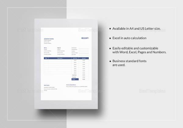 Sample General Receipt Template 13 Free Download for PDF – Reciept Format