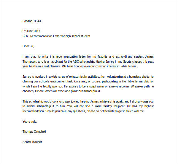Sample letter of recommendation for scholarship 29 examples in recommendation letter for high school student from sports teacher altavistaventures Image collections