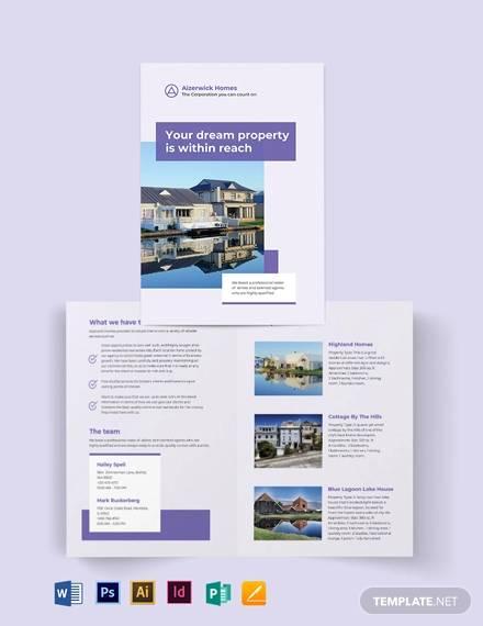 residential realestate agentagency bi fold brochure template