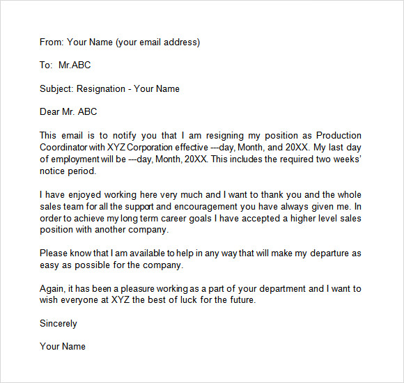 resignation letter format through email 7 sample resignation email letter templates to 13361