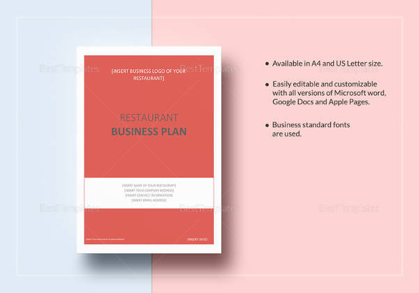 restaurant business plan template in word