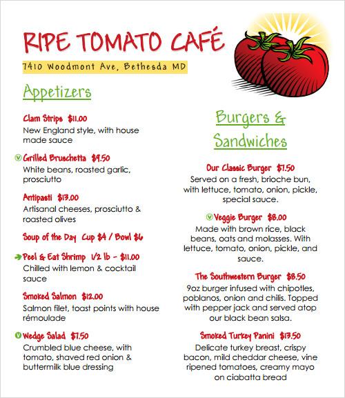 restaurant menu template1