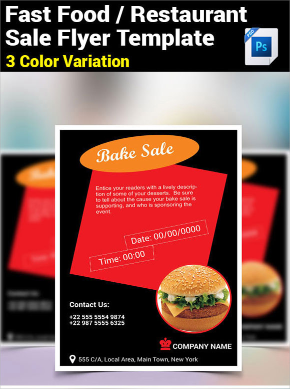 restaurent bake sale flyer template