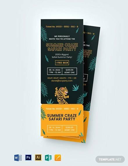 safari party ticket invitation