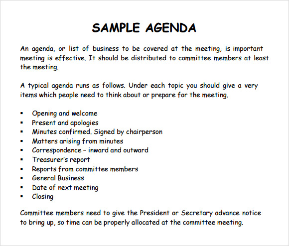agenda format for a meeting