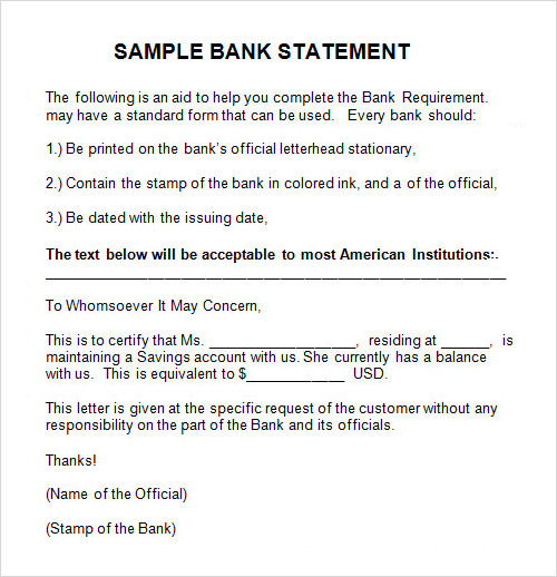 Sample Statement 6 Documents in PDF Word – Sample Bank Statement