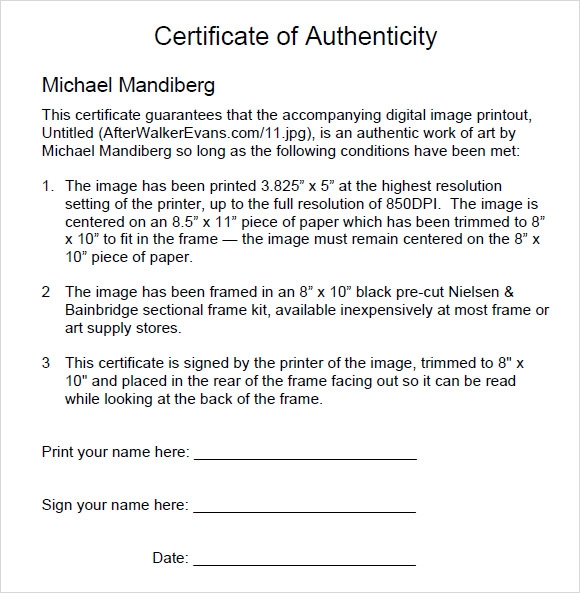 Sample Certificate Of Authenticity Template 9 Free