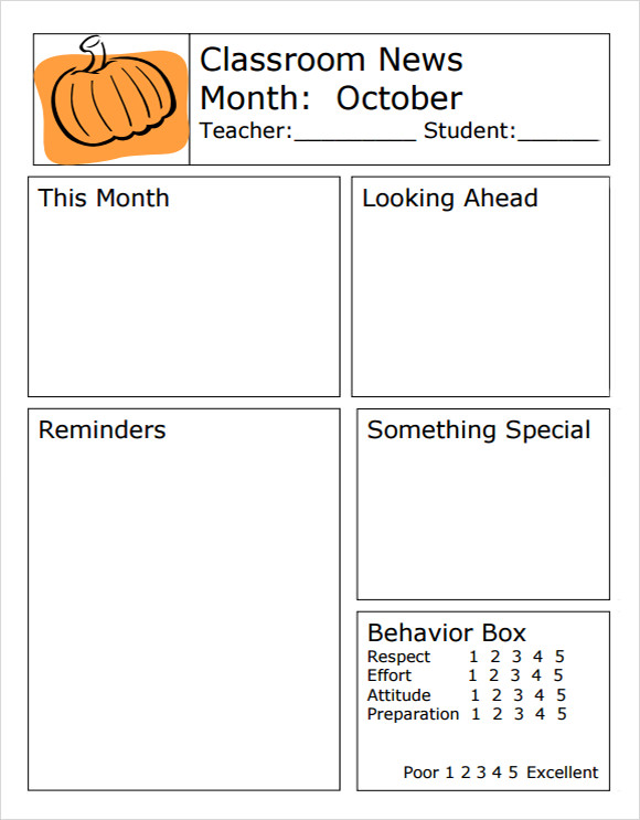 Classroom Newsletter Template   7 Free Download for PDF Word oNhEXfhp