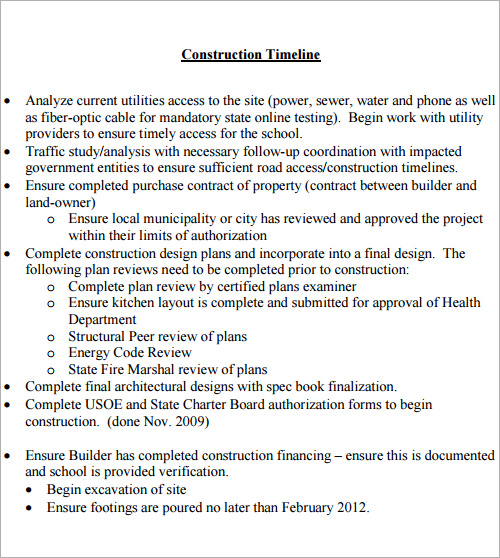 Sample Construction Timeline Construction Timeline Example Sample
