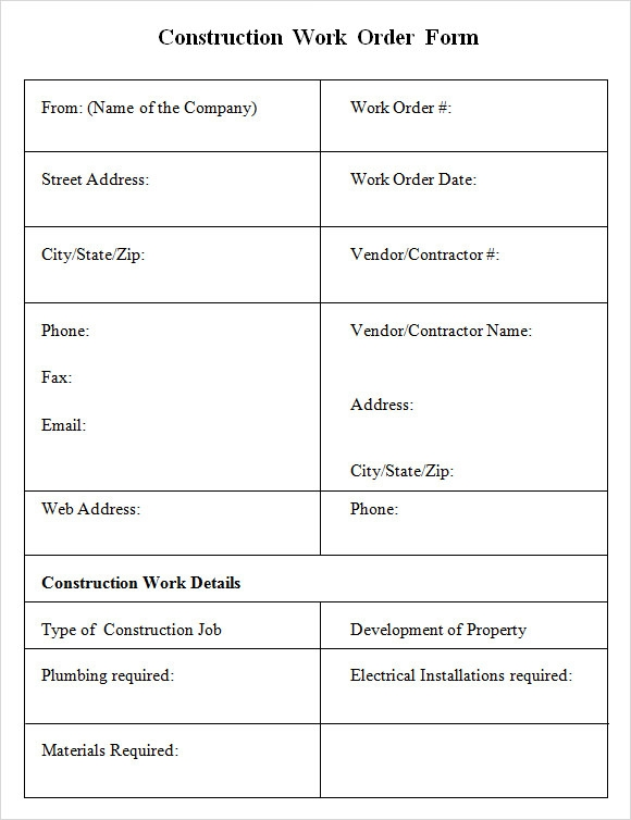 6 sample construction work order forms pdf sample for Workorder template