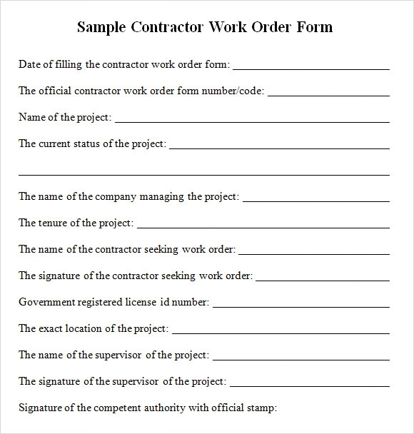 Contractor Work Order Form - Free Download For Pdf