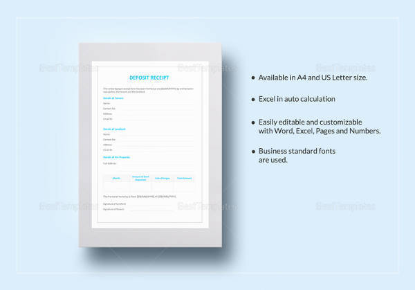 sample deposit receipt 15 free download for pdf word