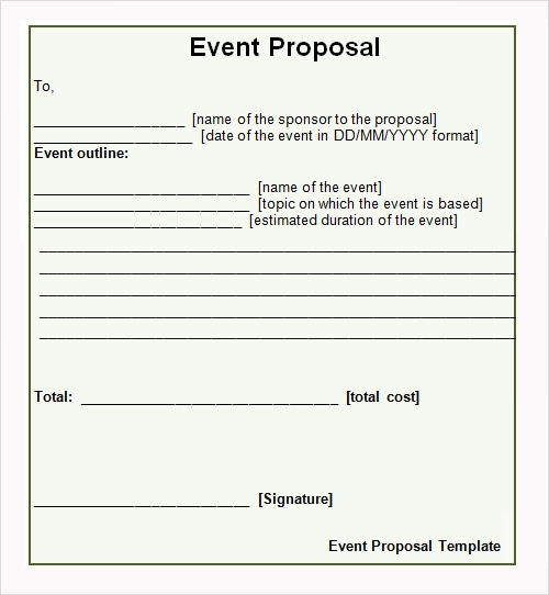Sample Proposal 10 Examples Format – Event Proposal Format