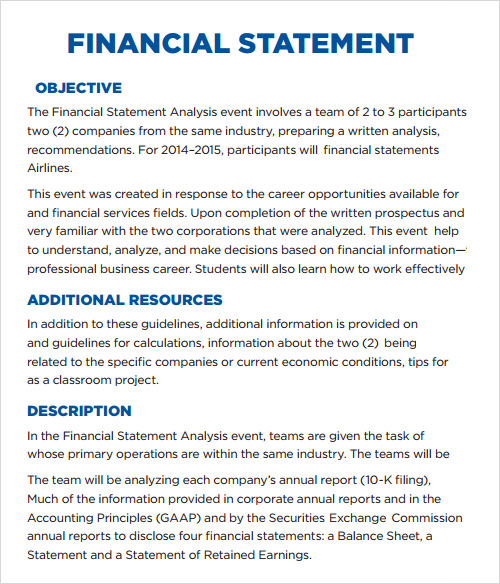 Sample Financial Reports Financial Report Form Example Sample – Annual Report Analysis Sample