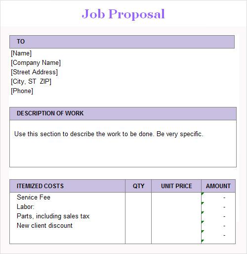 Sample Job Proposal Template Datariouruguay