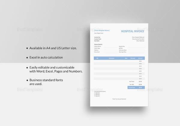 Sample Medical Invoice Template Free Download In PDF - Patient invoice template