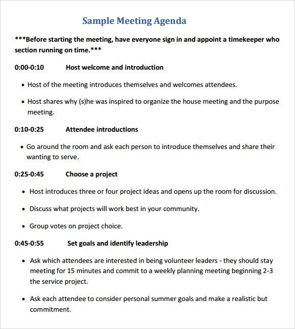 meeting agenda examples templates