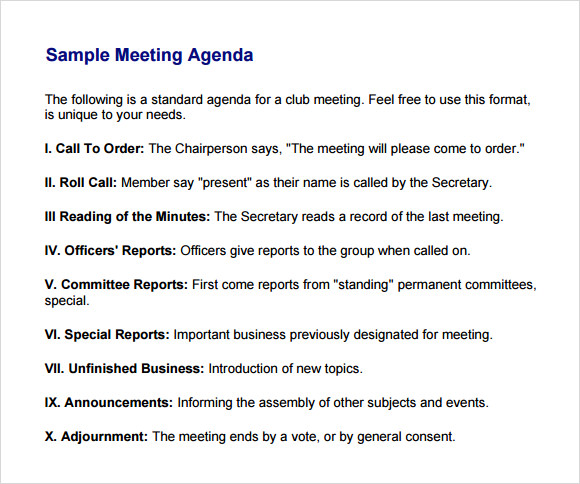 Business Meeting Agenda Template 5 Download Free Documents in – Samples of Agendas for Meetings