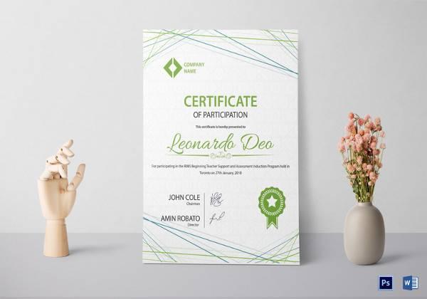 sample participation certificate template