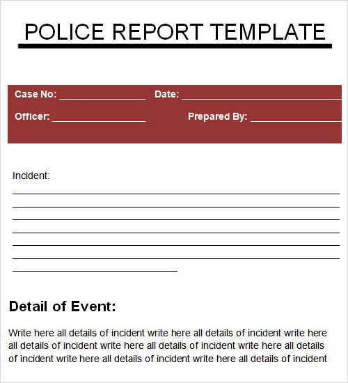 Technical writing incident report example – Sample Police Reports