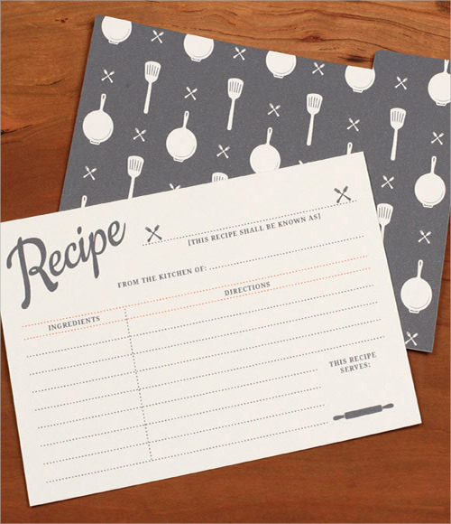 sample printable recipe card