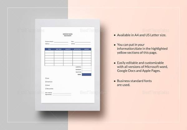 sample sales receipt excel template