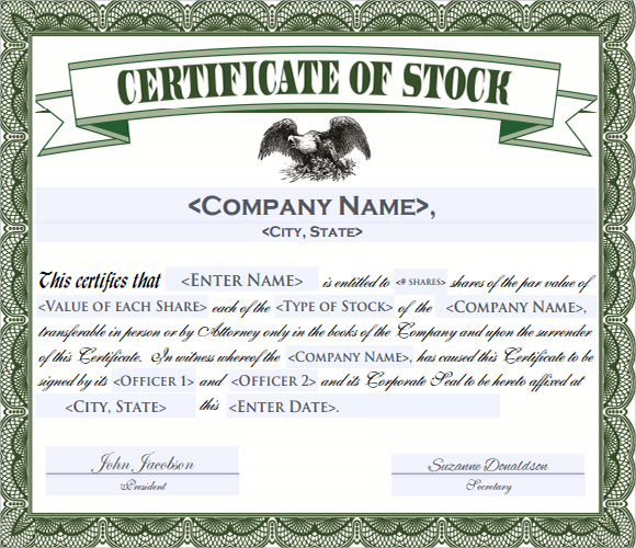 stock certificate template 4 free download for pdf word