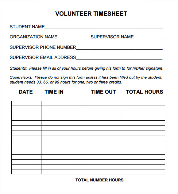 Volunteer Timesheet Template 9 Download Free Doccuments in PDF – Free Timesheet Form