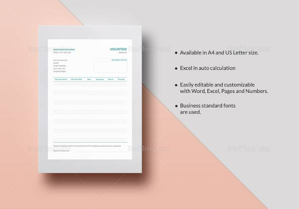 sample volunteer timesheet template1