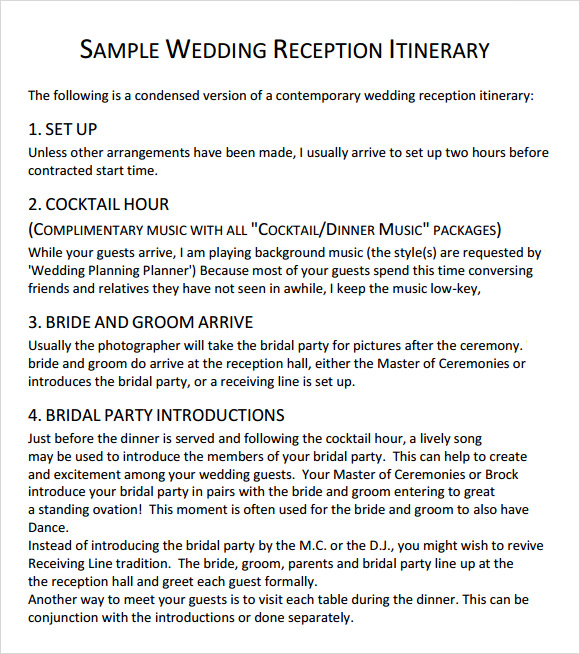 sample wedding reception itinerary template