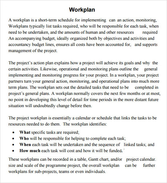 Work Plan Template Word  Plan Template