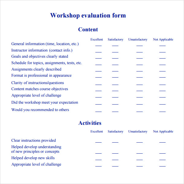 Workshop Evaluation Form   Free Download In Pdf