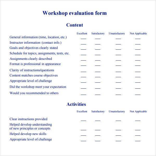 conference evaluation form template – Seminar Feedback Form