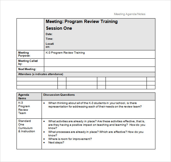 Free Agenda Template. Project Meeting Minutes Template Free