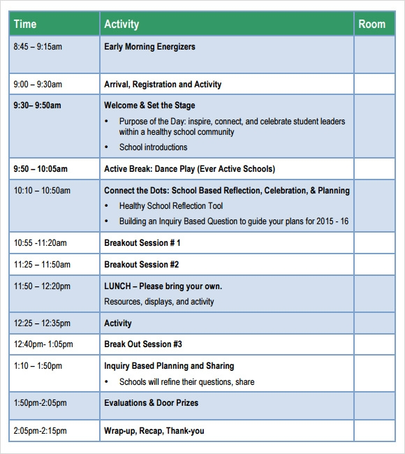 Agenda Sample Format Sample School Agenda  8 Documents In Pdf Word